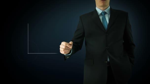 Üzletember interaktív érintőképernyő. Érintőképernyős technológia mozgóképek. Kék oszlopdiagramon