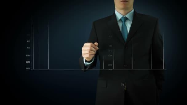 Schermo di tocco di interattività uomo daffari. Animazioni di tecnologia touchscreen. Grafico blu grande