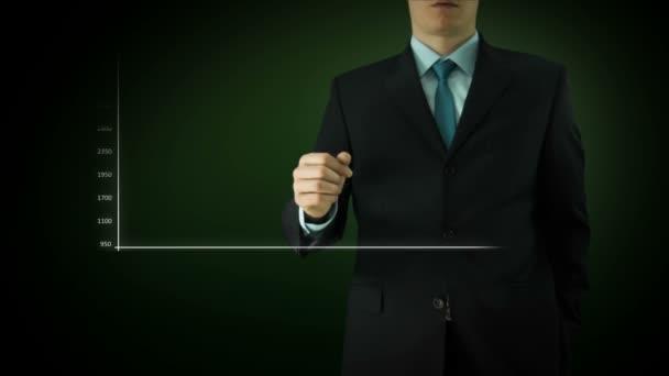 Businessman interactivity Touch screen. Touchscreen Technology motion graphics. Green big bar graph.