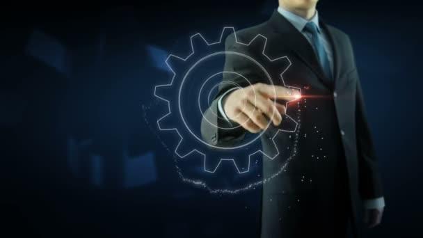Business man success gear team work concept red text