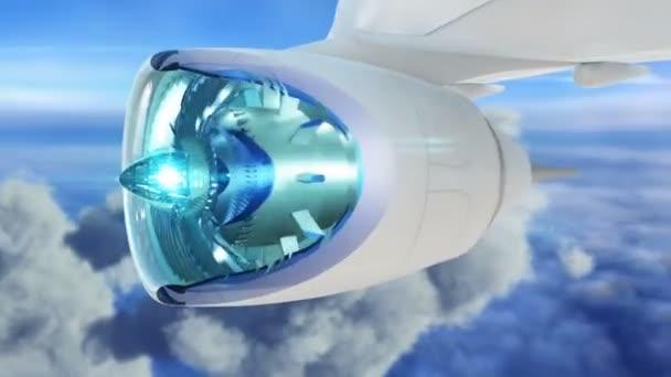 Proudové letadlo letí nad mraky s fly přes motor