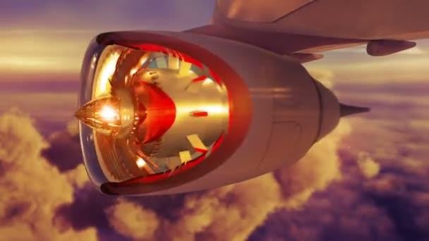 Jet commerciale aeroplano vola sopra le nubi con volare attraverso tramonto motore