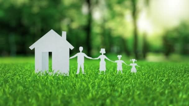 Dokument white paper dům animace na zelené pěkné letní trávy hypoteční koncept