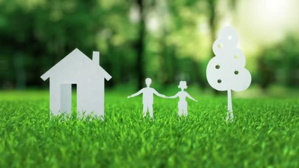 Dokument white paper dům rodinný strom animace na zelené pěkné letní trávy hypoteční koncept