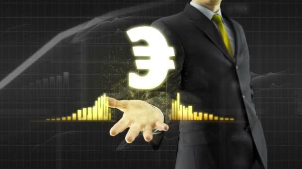 Obchodní muž drží eura na straně