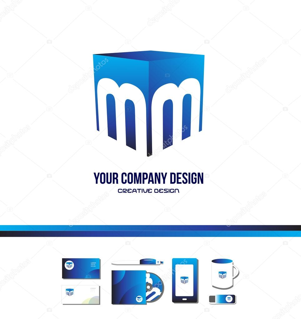 alphabet letter m cube blue logo icon 3d � stock vector