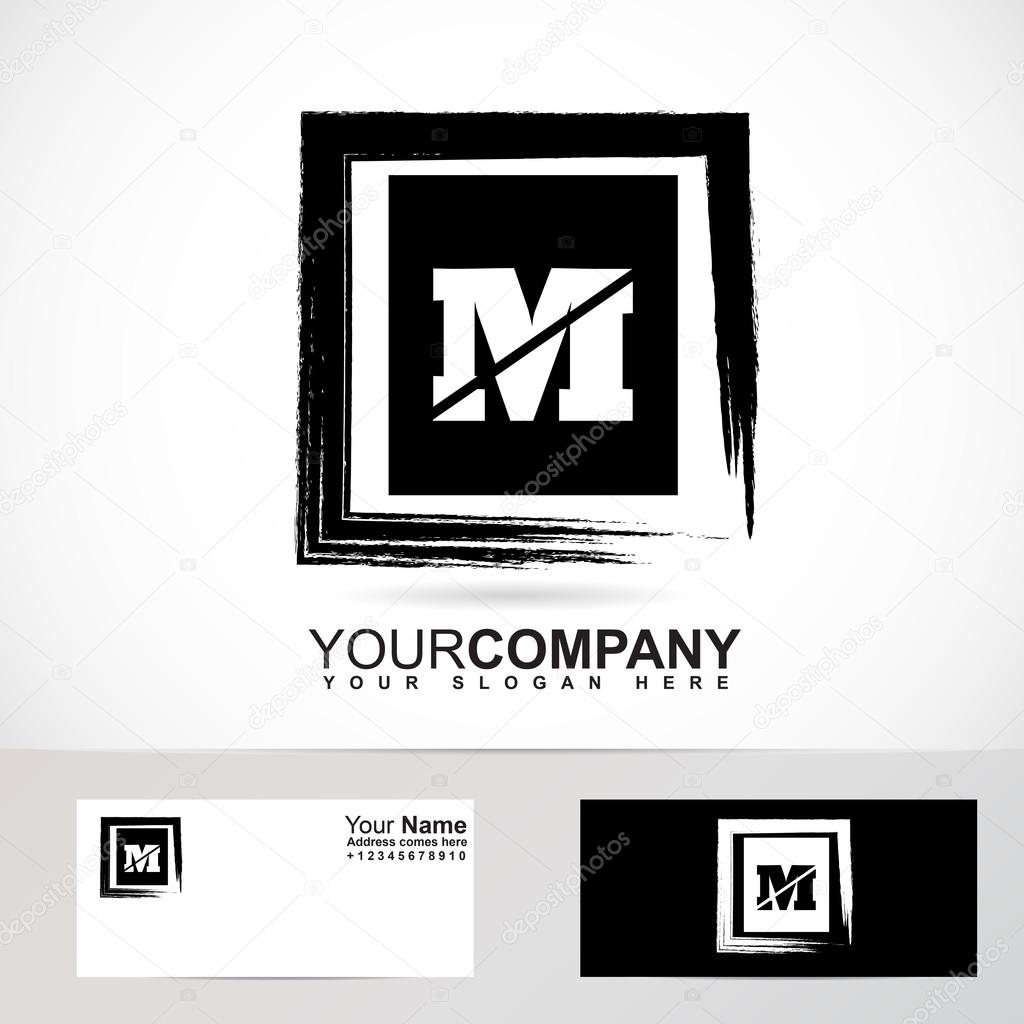 Letter M grunge square logo