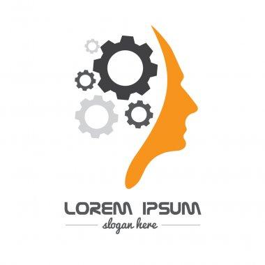 Human head gear idea concept logo