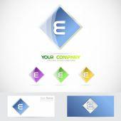 Letter e rhombus logo blue
