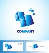Kostky 3d ikony modré logo