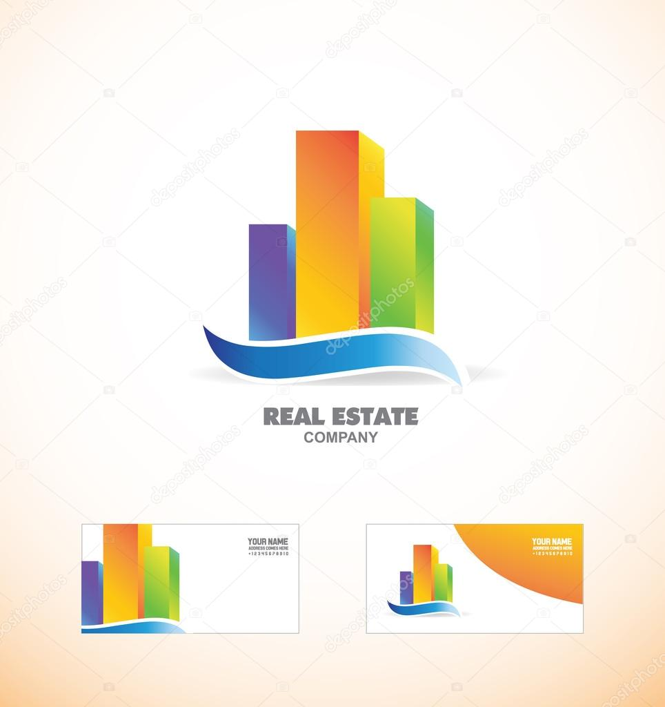Skycraper Immobilien Logo Symbol Erstellen Stockvektor