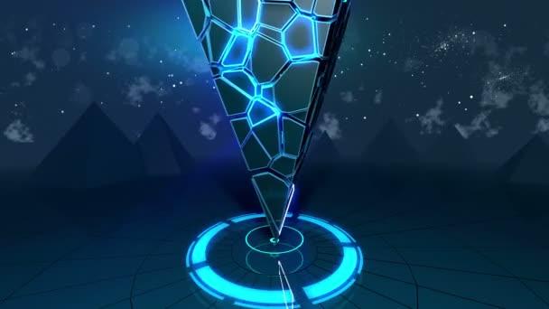 Rotating of glowing pyramid