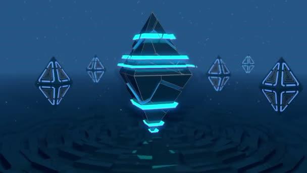 Rotating of glowing pyramids