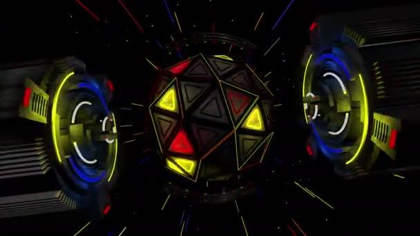 forma futuristica dai cerchi con bagliori di luce