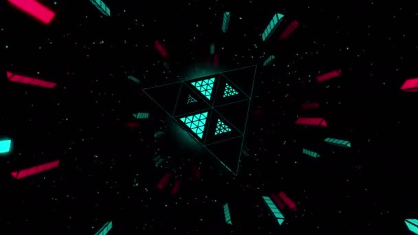 Rotating pyramid flying in space