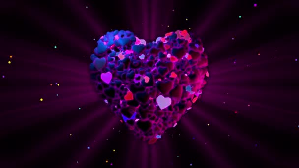 Purple heart made from blinking hearts
