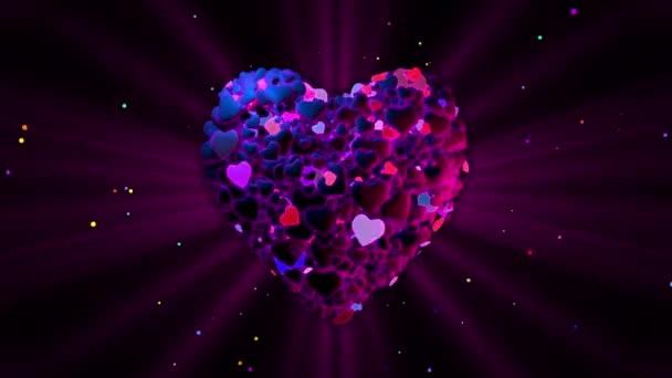 Purple heart made from blinking hearts