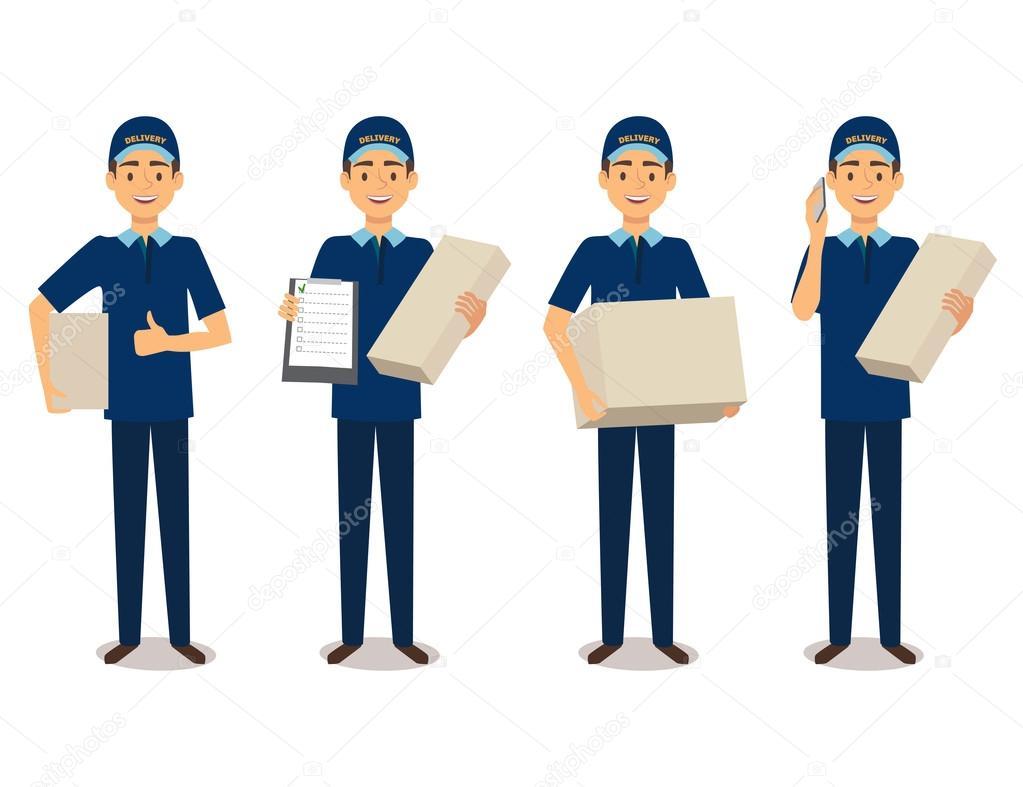 满长的送货中捧着的盒子的蓝色制服的男子的画像 — 图库矢量图像© MarinaMays #119838932