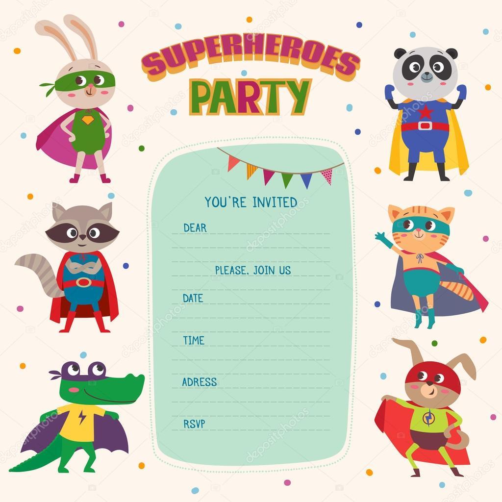 Superhelden. Karte Einladung mit niedlichen Tierchen — Stockvektor ...