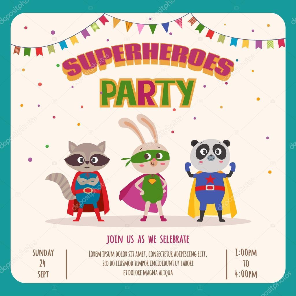 Invitacion Fiesta De Disfraces Superheroes Superhéroes