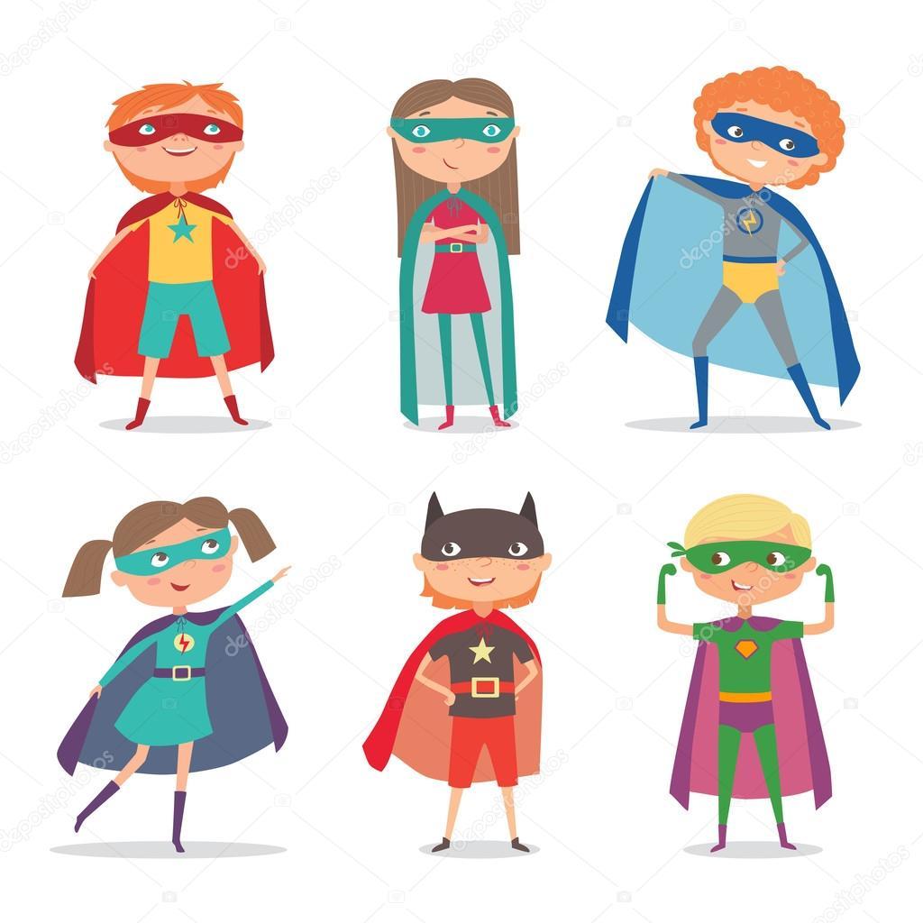 Niños de Superheroes. Vector ilustración de dibujos animados — Vector de stock ...