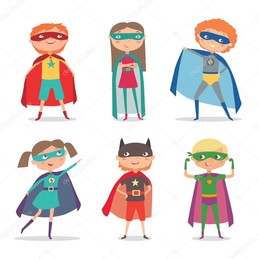 Superhelden kinderen cartoon vectorillustratie - Superhero dessin ...