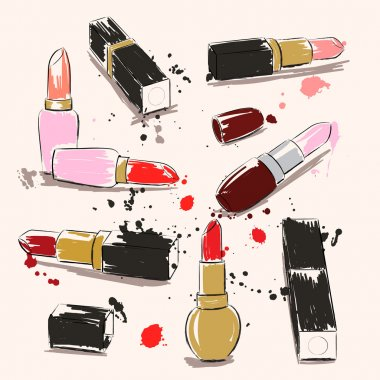 Hand drawing vector illustration with lipstick