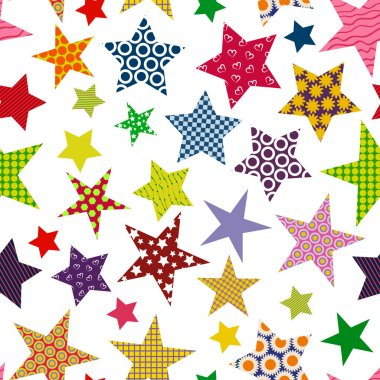 Bright colored stars background. Seamless pattern.