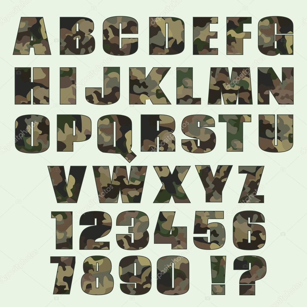 Letra de camuflaje y los números. Fuente de publicidad, gráfico ...