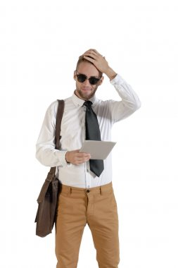 business man holding a tablet