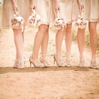 Brides maids standing in line