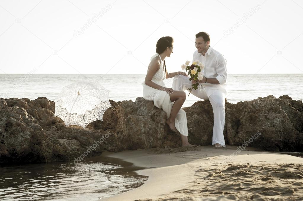 romantic Couple at ocean