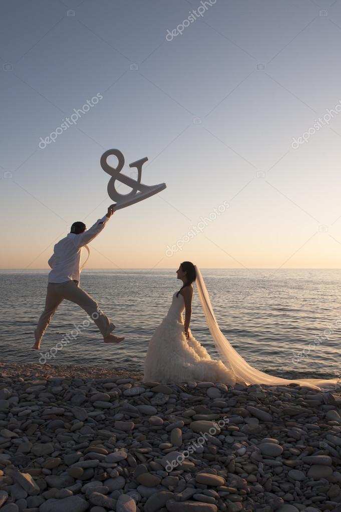 happy Newlywed couple