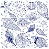 Vector set Shells, zentangle blue seashells for adult anti stres