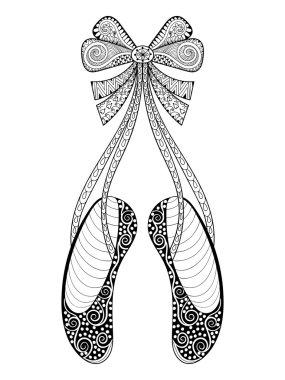 Vector zentangle ballet dance shoes symbol, patterned illustrati