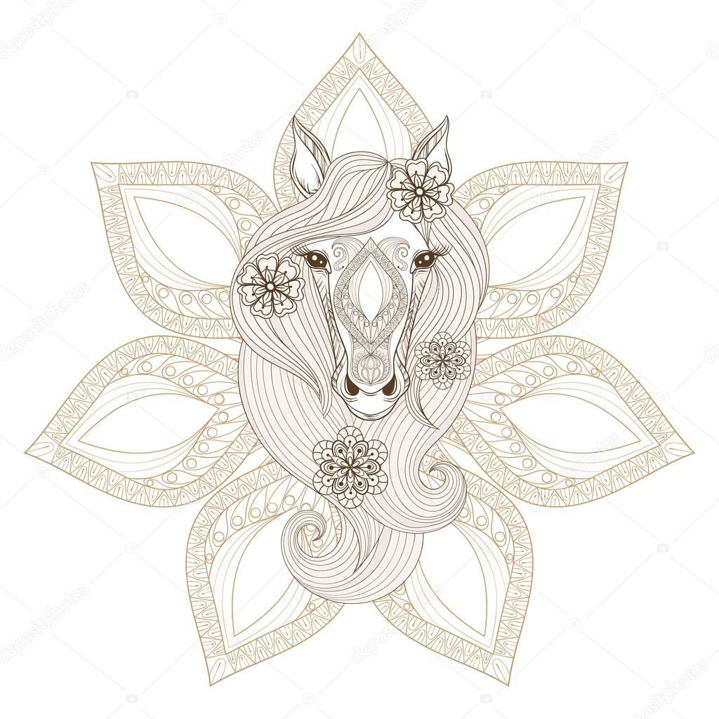 Vector Horse. Coloring page with Horse face on mandala backgroun