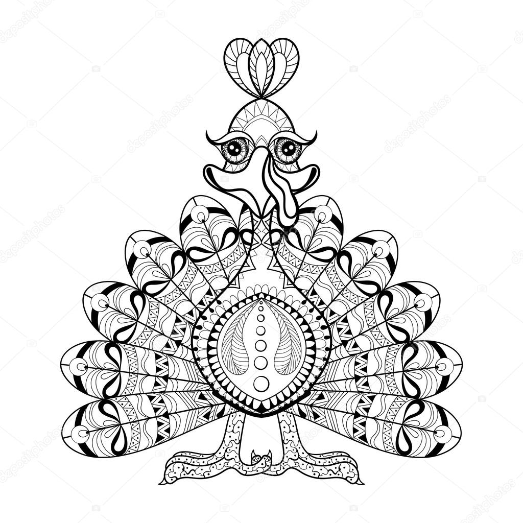 Hand Drawing Turkey For Adult Anti Stress Coloring Pages, Thanks U2014 Vetores  De Stock