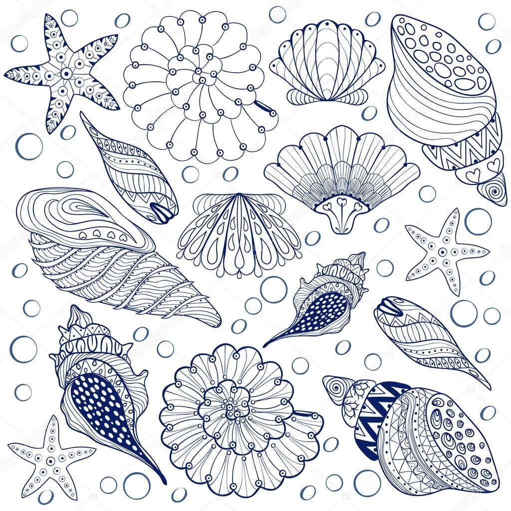 Vector set Shells, zentangle blue seashells for adult anti stres