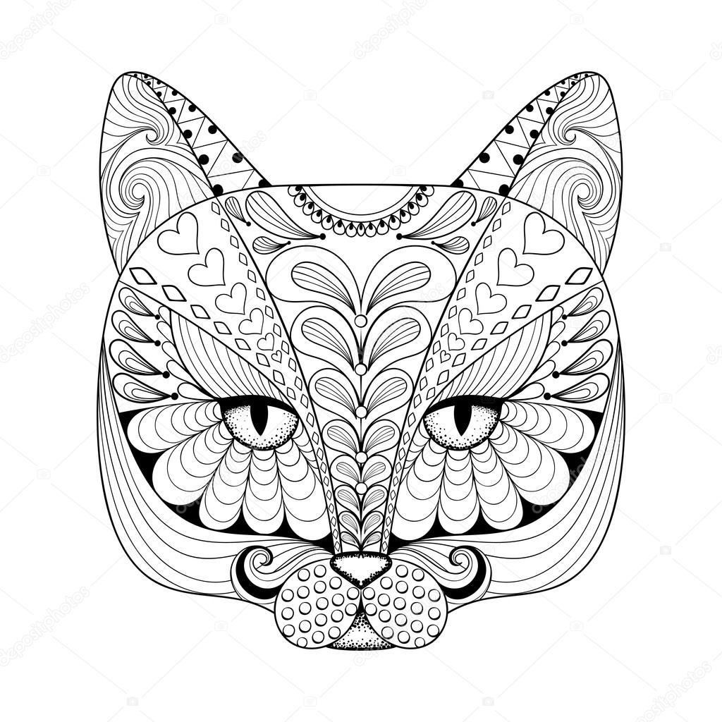 Vector zentangle Katze für erwachsene Malvorlagen ausdrucken. Hand ...
