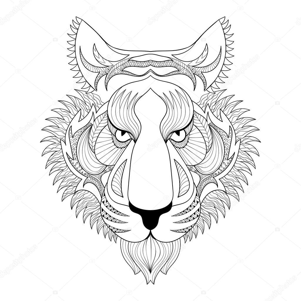 Tigre Vettoriale Illustrazione Del Viso Della Tigre