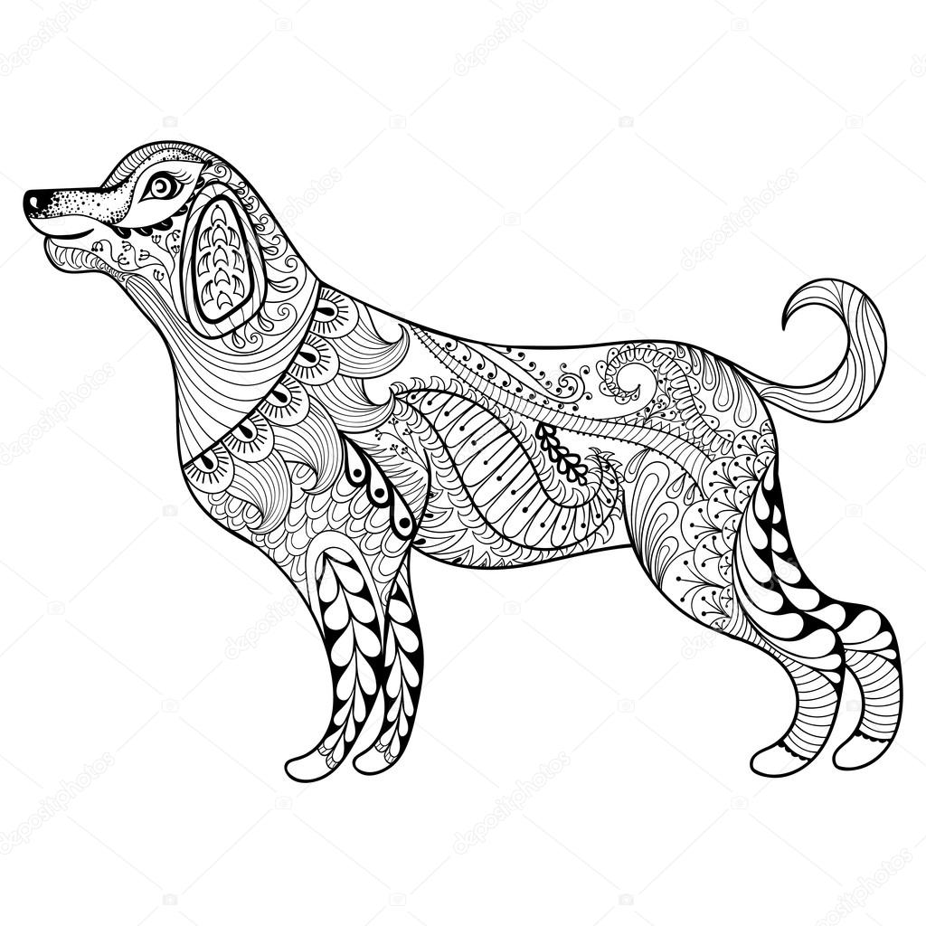 Vector zentangle dog print for adult coloring page. Hand drawn a ...