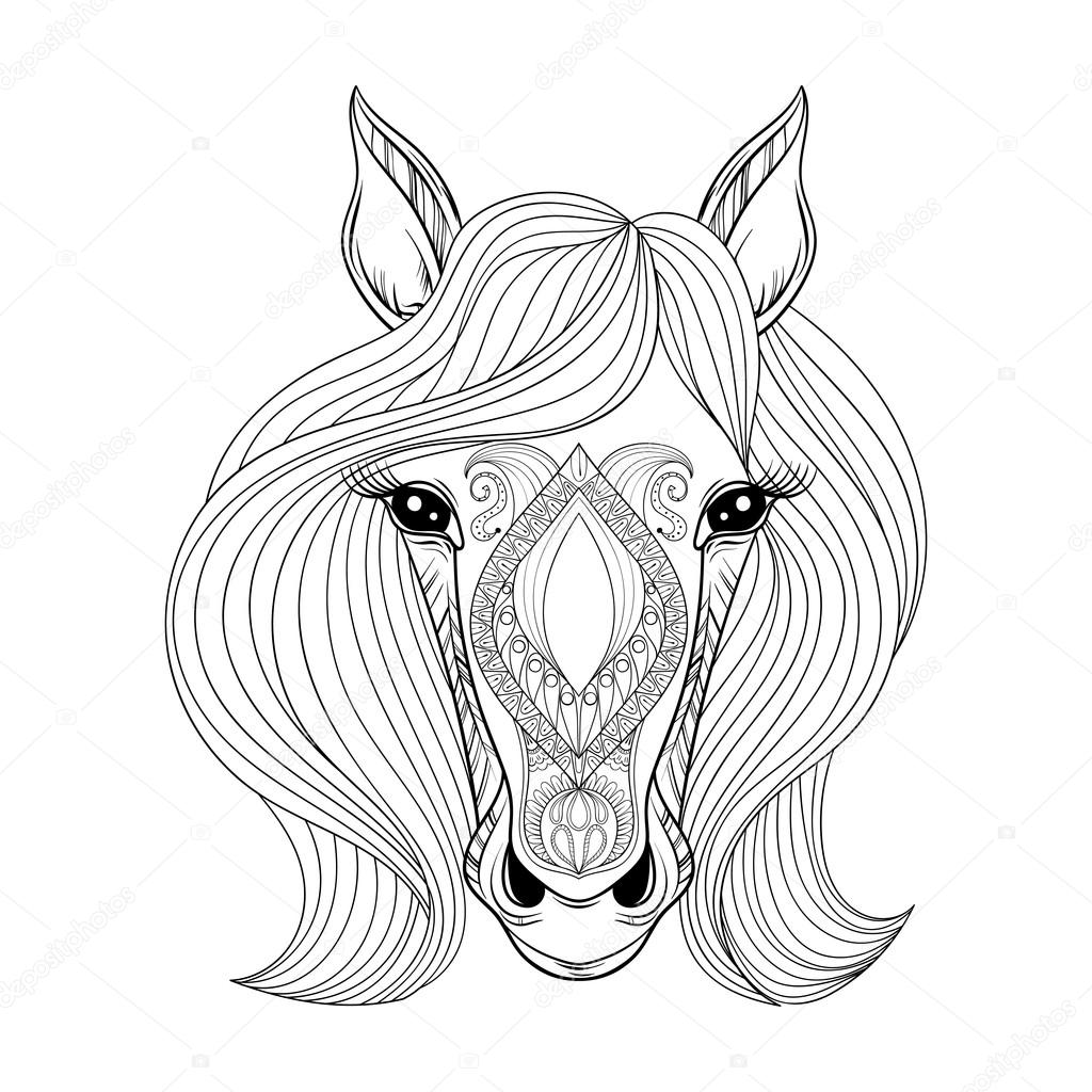 Images: horse to color | Vector Horse. Coloring page with ...