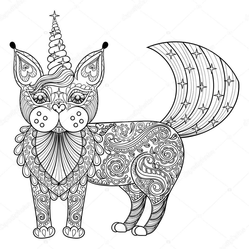 Vector zentangle magic cat unicorn, black print for adult anti s