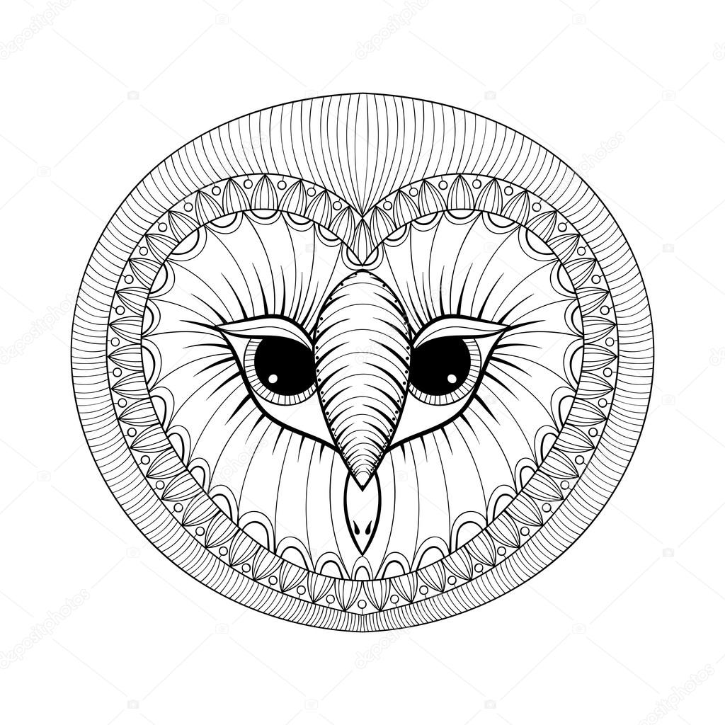 coloring page with owl head zentangle stylized hand drawing ill