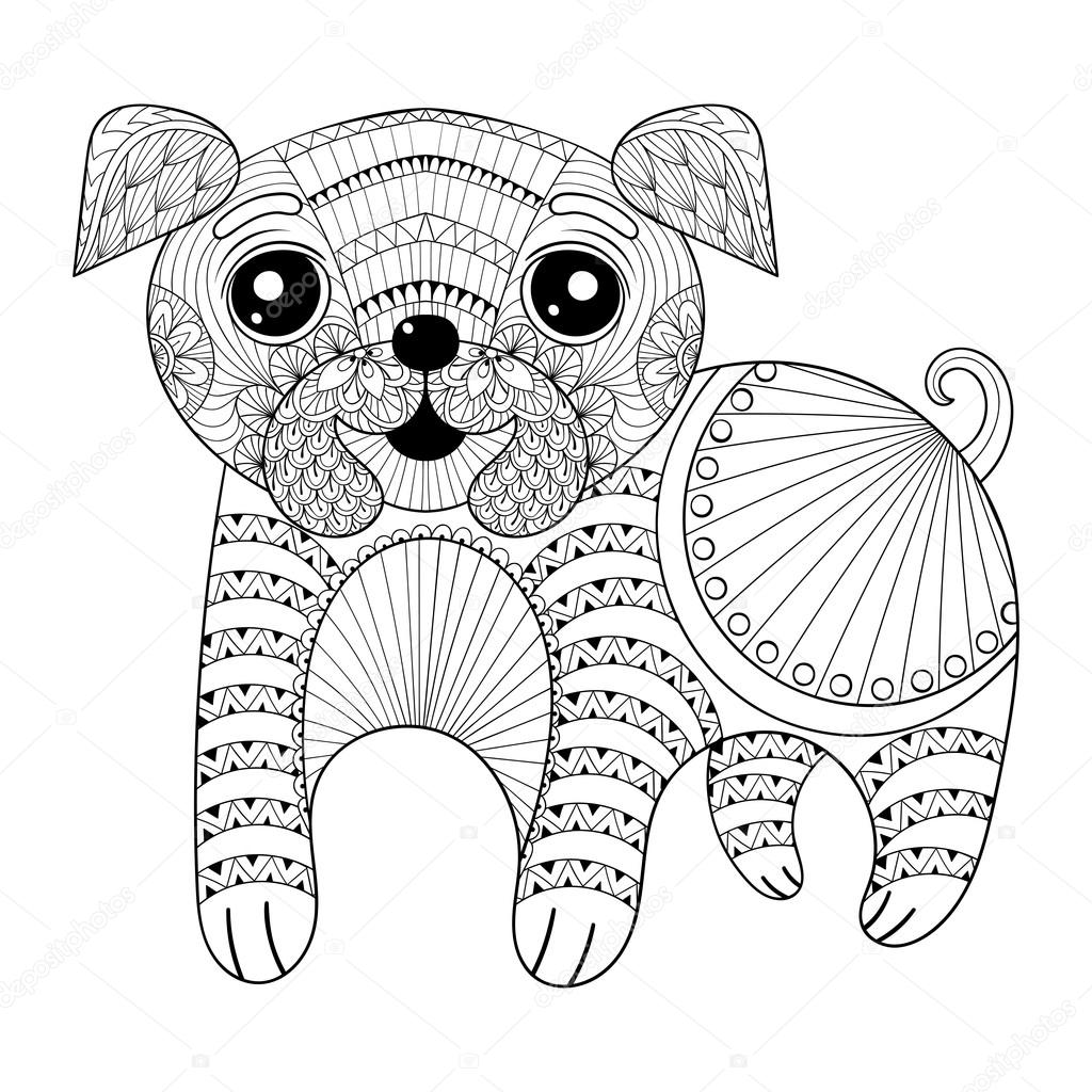 Zentangle Hand Drawing Dog For Antistress Coloring Pages