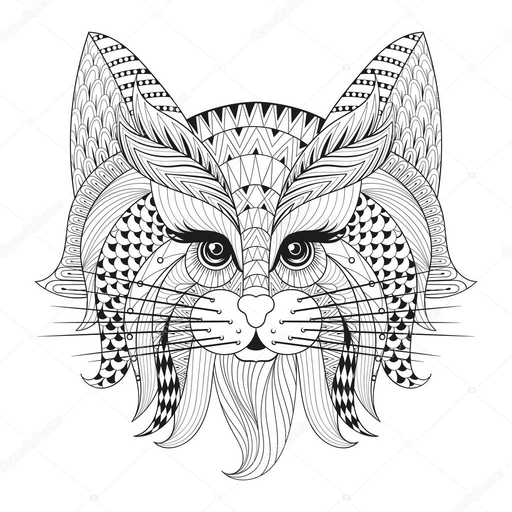 Zentangle Hand drawn Cat face for adult antistress coloring ...