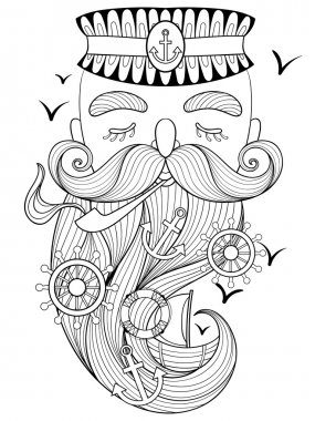 Vector zentangle old sailor smoking a pipe, captain, fisherman,