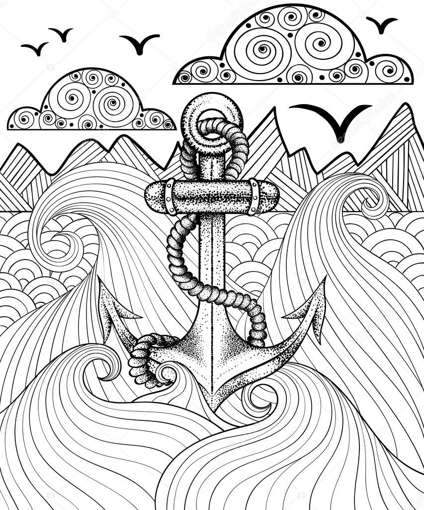 Vector zentangle print for adult coloring page. Hand drawn artis