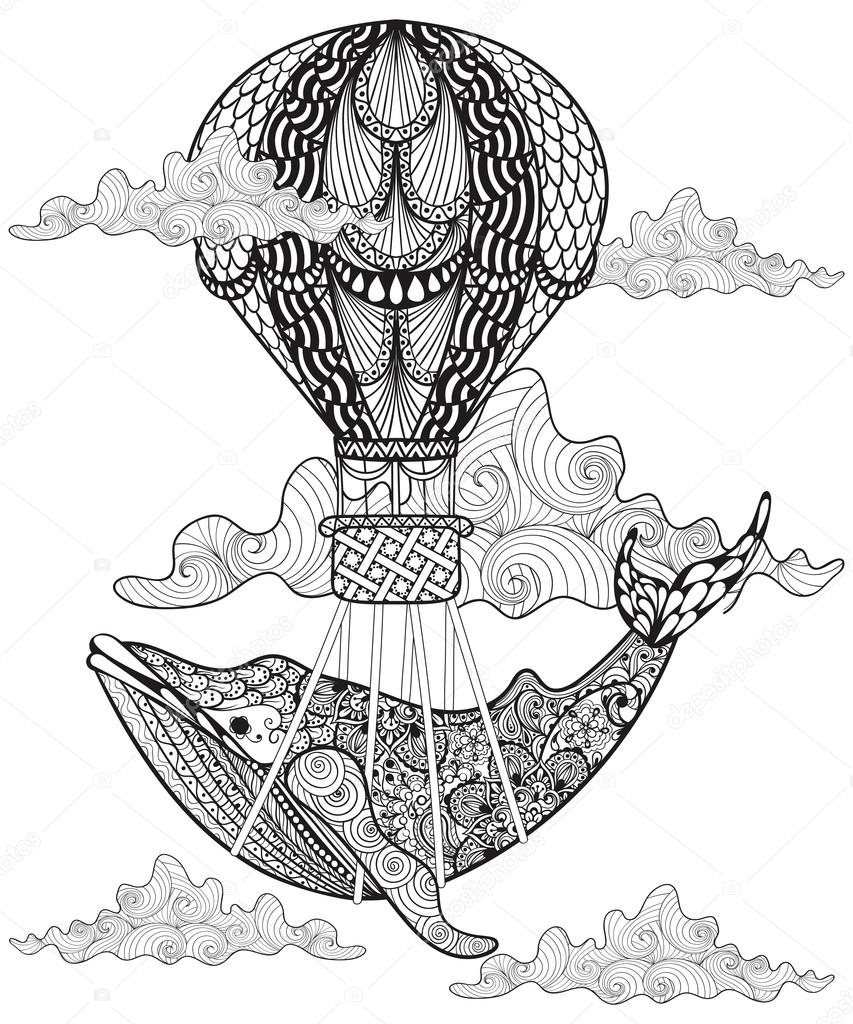 Hand drawn vector Whale flying with artistic air balloon in clou
