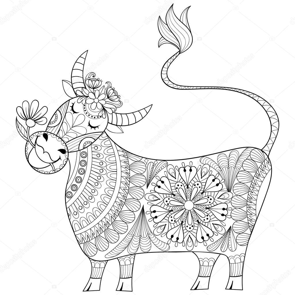 Malvorlage mit Kuh, zenart stilisierte Handzeichnung Melker illu ...